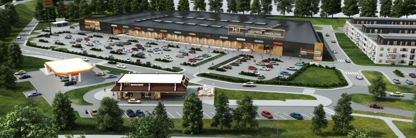 Centrum Handlowe HIT zlokalizowane będzie przy skrzyżowaniu głównych dróg regionu (drogi krajowej - Gen. Thommee z drogą wojewódzką - ul. Warszawska).