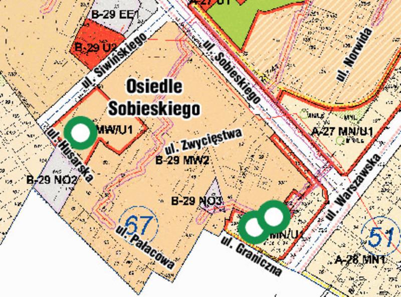 Zielonym okręgiem zaznaczone są miejsca w których w wyniku zmiany planu dopuszczona będzie budowa wysokich budynków mieszkalnych.
