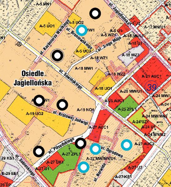 Czarnym okręgiem oznaczono miejsca w których możliwa jest realizacja bloków wielorodzinnych. Niebieskim kolorem oznaczono miejsca w których SML-W zamierza rozpocząć inwestycje w najbliższym czasie.