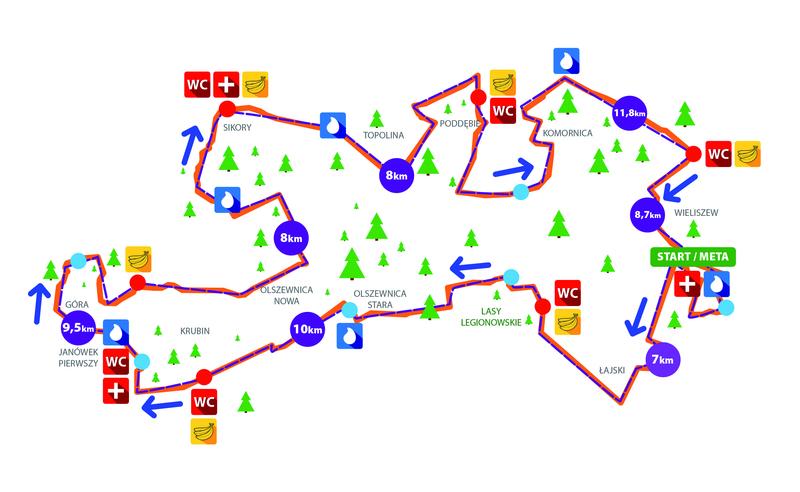 Trasa biegu w tym roku - 63 km podzielone na 8 odcinków.