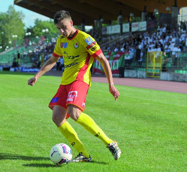 Daniel Kutarba zagrał drugi mecz w legionowskich barwach na lewej stronie defensywy. Fot. fotoMiD
