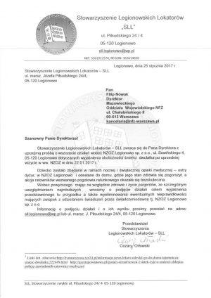 Treść wniosku wysłana do Dyrektora Mazowieckiego Oddziału NFZ